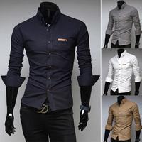 2014 New Arrival Men's Shirts Slim fit Stylish Dress Long Sleeve Shirts Cotton Casual Shirt Tuxedo Shirts 4 Color Free Shipping