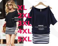 2014 New Fashion Women Summer Sexy Dress Striped O-Neck Short Sleeive Mini Dresses Plus Size For Women's Clothing RY03