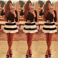 S - XL/ New 2015 Autumn Sexy Women One Piece Dress Black White Striped Dresses Package Hip Long Sleeve Dress Vestidos