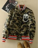Pithecanthrope bape 1st camo v for ar sity Camouflage baseball jacket cotton jacket wadded jacket lovers