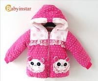 Girl Baby Snowsuit Cartoon Panda:Baby Boys Jacket Child Lace Stitching Patterns Girls Winter Coat Polka Dot Children Outerwear
