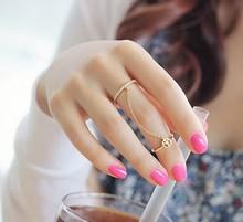 Hot New Fashion Women Girl s jewelry gifts rhinestone peace chain link Midi finger ring free