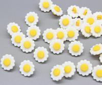 1000pcs white w/ yellow center Sunflower Plastic shank Buttons kawaii DIY sewing craft supplies