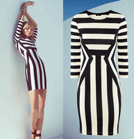 WZ12-26 2015 Spring And Summer Fashion New Women Slim Package Hip Sleeve Round Neck Black And White Striped Dress