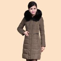 2014 Winter Thicken Warm Woman Down jacket Hooded Coat Parkas Outerweat Luxury Slim Fox Fur collar Plus Size 4XXXXL Long Black