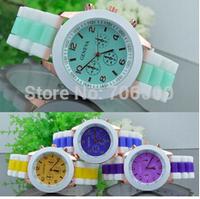 14 colors Casual Watch Geneva Unisex Quartz watch  men women Analog wristwatch Sport Watches Rose Gold Silicone watch,dropship
