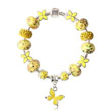 Hot sale Fits Pandora Bracelet charm 925 Silver Murano Glass European bracelets Butterfly Christmas gifts wholesale bracelets