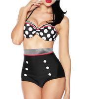 2015 New Fashion Women High Waist Dot Printed Sexy Bikini Set with Bra Padded Summer Push Up Bikinis Swimwear