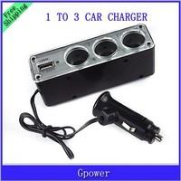 50pcs/lot 1 to 3 2V 3 Triple Socket 1 USB Car Cigarette lighter plug Charger adapter for Mobile phone mp3 mp4