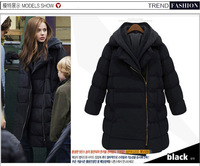 Fashion women's 2014 outerwear thickening with a hood down cotton-padded jacket medium-long down coat outerwear