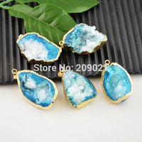 Finding - 5pcs Druzy Quartz Geode Charm Pendant 24k Gold plated Edge Blue Jewelry making