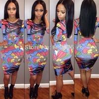 Dresses clothing new fashion women print dresses 2014 national spring and autumn vintage   print dress