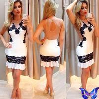 New 2015 Women Clothes Patchwork Tulle Lace Dress O-Neck Backless White Mini Club Dress Sexy Bodycon Dress Vestido De Festa