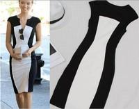 New Fashion Women Summer dress Celeb Style Slim Bandage Tunic black white stitching dresses sexy Party Plus Size Bodycon Dress