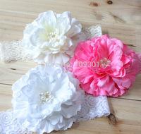 Baby peony flower headband baby flower headband 10color 24pcs/lot