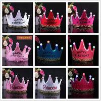 10pcs/lot children's Birthday Headband Prince Princess Luminous crown hair bands