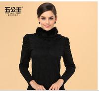 Princess winter black lace gauze plus velvet thickening thermal fur collar basic turtleneck shirt long-sleeve lace shirt