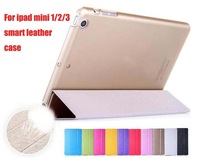 10x Elegant Clear Silk Slim Leather Case For ipad mini 1 / 2 Retina / 3 Luxury Stand Cover Tablet Transparent Magnetic Cover