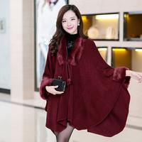 New Arrive Women Cardigan Batwing Sleeve Shawl Cloak Cape Coat Women Wool Sweater Knitwear Ladies Long Loose Outwear Hot Sale