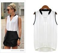 Fashion Women Blouses Sexy Sleeveless Chiffon Plus Size Ladies Blouses Casual Tops Clothing 2014 New Summer White Black