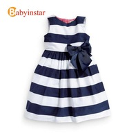 Toddler Girl Dress Princess Pure Cotton:Fashion Big Bow-knot Striped Sundress Dark Blue 2014 Summer Baby Clothing European Style