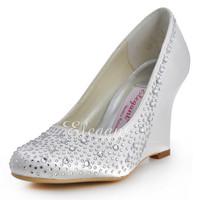 Elegantpark EP2003 Ivory  Woman Round Toe Satin Rhinestones Wedge Wedding Bridal Shoes