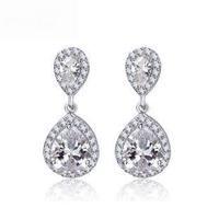 Luxury AAA-Grade Cubic Zircon Earrings Double Water Droplets Women Stud Earrings and Non Pierced Can Wear  Clip Factory Direct