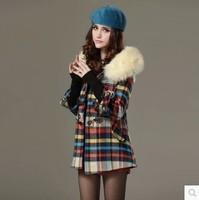 2014 autumn and winter cloak wool woolen overcoat women's loose horn button outerwear
