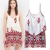 2015 Casual European Style Women Summer Spring Princess Dress Spaghetti Strap Sleeveless Cape-style Famous Brand CL2355
