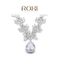 ROXI Gift swiss CZ Platinum plating luxury flowers necklace pendant water drop jewelry
