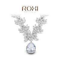 ROXI Gift swiss CZ Platinum plating luxury flowers necklace pendant water drop jewelry