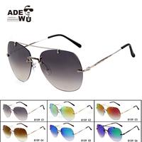 Flash Mirror Lens Rimless Flat Aviator Sunglasses Men Big Size Pilot Sun Glasses oculos de sol masculino Goggles