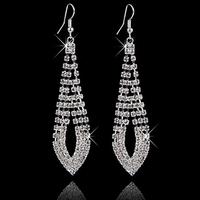 New Luxury Wedding Bridal Statement Drop Silver Gold Earrings SWA Element Austrian Crystal Earring Long Dangle Jewelry