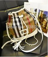 Plaid canvas with leather bucket bag shoulder diagonal portable handbag leather large bag