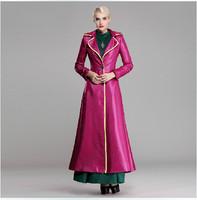 Europe Elegant Woman 2014 Winter X-Long Trench Coat Fashion Plus Size 3XL Long Sleeve A-Line Maxi Dress Coat Overcoat Outerwear