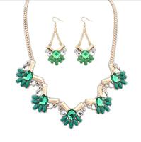 Fashion women's crystal alloy jewelry sets choker necklace earrings rhinestone party charm necklace earrings for women wedding