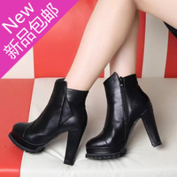 Spring and autumn women's shoes high-heeled shoes thick heel platform boots martin boots elegant black white single boots ol