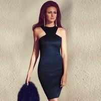 European version of the autumn formal dress chest irregular sleeveless strapless sexy slim hip slim one-piece dress 21605