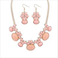 Fashion women's crystal  jewelry sets choker necklace earrings flowers oval gemstone charm necklaces earrings for women ewelry
