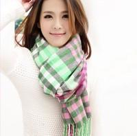 Free Shipping Winter Scarf Women  Fashion Brand British Style Plaid Thick Scarves Desi gual Tassel Wrap Shawl