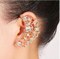 ZH1012  Crystal Spider Web Earring Punk cool Ear Cuff Stud Earring Wrap for women