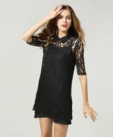 2015 new fashion ladies sexy dress half sleeve turn down collar black lace chiffon party dress fashion dress women dress S-5XL