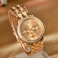 Free shipping Retail Diamond Steel Band Wristwatch 18K gold-plated wristwatches casual watch 2015 new women watch