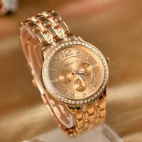Free shipping Retail Diamond Steel Band Wristwatch 18K gold-plated wristwatches casual watch 2015 new women watch