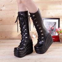 2014 New queen boots flat platform big-head boots wimen's long-barreled 12cm high heels platform cosplay dress boots size 10.5
