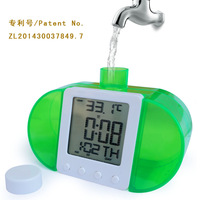 New Arrival Hot High Quanlity Creative Water Powered AlarmClock  LCD Display Temperature Calender Hydroenergy Digital Clock