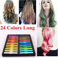 24 Colors Hair Chalk Long Size Temporary Non-toxic Hair Pastels Crayons Hair Color Pastel Dye Sticks