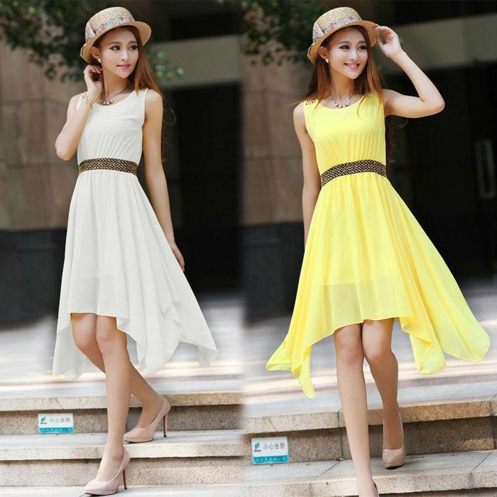 AliExpress.com Product - Casual Dress Vestidos Women Summer Dress Chiffon Tropical Fashion Solid Color Cheap Clothes China American Apparel TZC248