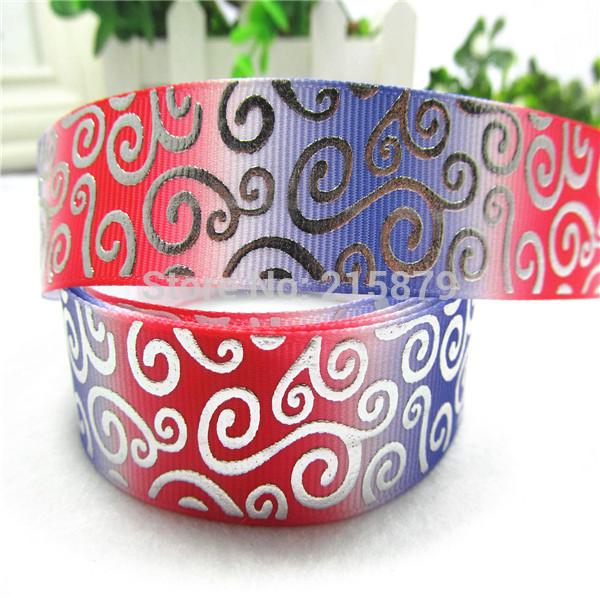 "M-SI008-022 7/8"" Heat Transfer Print Grosgrain Rainbow Color Silver Foil Ribbon Clothing Bow DIY(China (Mainland))"