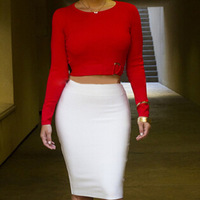 Fashion Two Piece Bodycon bandage pencil dress Red White Long Sleeve Winter Dresses Women Clubwear Cocktail Party Sweater Dress